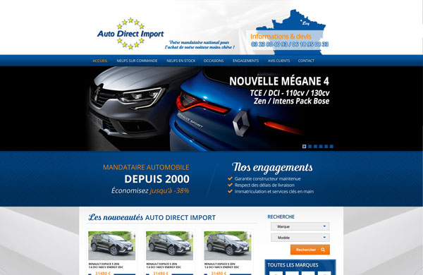 Création de site internet automobile Auto Direct Import