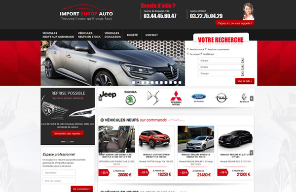 Création de site internet automobile Import Europ Auto