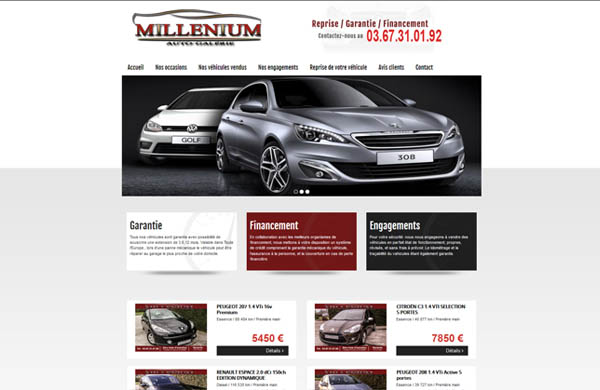 Création de site internet automobile Millenium Automobiles